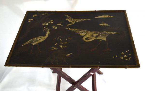 Antiga Mesa Auxiliar Japonesa Com Pinturas A Mao Repr