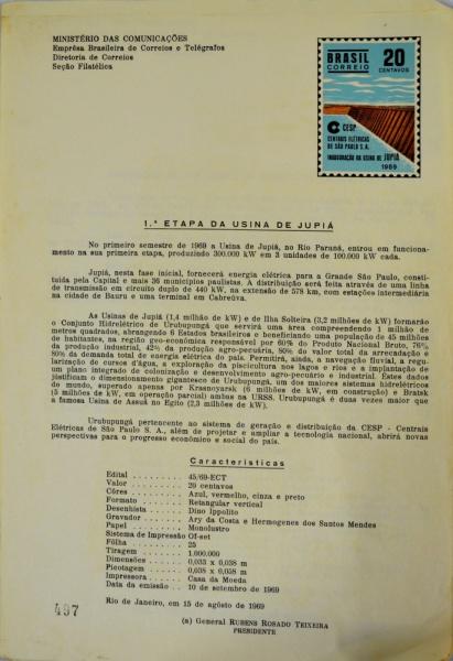 Lote contendo 7 cartas descritivas emitidas pelo Ministério das  comunicações comemorativas de edições de selos f7e1329293c