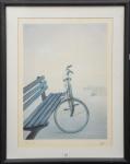 """SEINE - Esc. Norte Americana - Séc. XX - """"Peace and Love"""", litografia s/ papel, med. 56 x 42cm, assinada e titulada a lápis, emoldurado em madeira c/ proteção em vidro med. 71 x 56, par c/ lote 11)."""