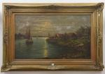"""E. A. COSTA - """"Marinha c/ Casario e Barcos"""", pintura a óleo s/ tela, med. 60 x 99cm, assinado, magnificamente emoldurado em madeira e estuque realçado a ouro."""