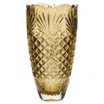 BOHEMIA - Vaso floreira tcheco estilo Luiz XVI, em cristal ecológico âmbar, lapidado e bizotado em palmas e carreaux, selado, med. 13 x 25cm.