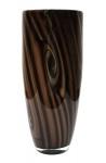 Vaso estilo art deco, em vidro murano bege c/ nuances marrom, decorado c/ ondeados, alt. 41cm.