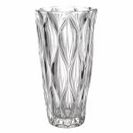 Vaso floreira estilo art deco, em grosso cristal ecológico lapidado c/ motivos geométricos, alt. 25cm.