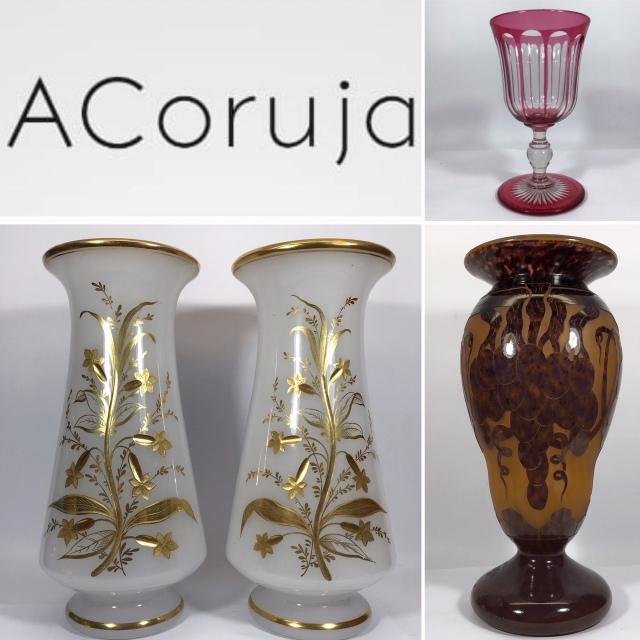 ACoruja -  LEILÃO DE ANTIGUIDADES - Opalinas, Art Déco / Nouveau, Pinhas, Baccarat, M