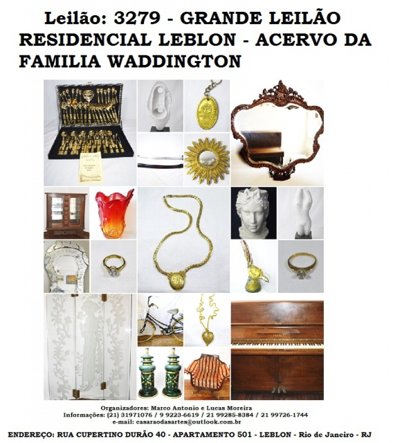 GRANDE LEILÃO RESIDENCIAL LEBLON - ACERVO DA FAMILIA WADDINGTON - TEL.: 21 31971076