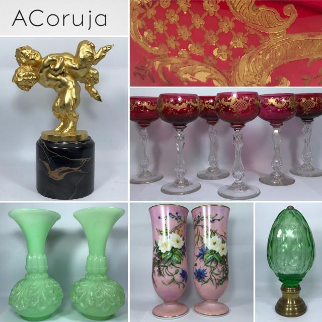 ACoruja  LEILÃO - LEILÃO DE ANTIGUIDADES - Opalinas, Art Déco / Nouveau, Pinhas, Baccarat, Meissen
