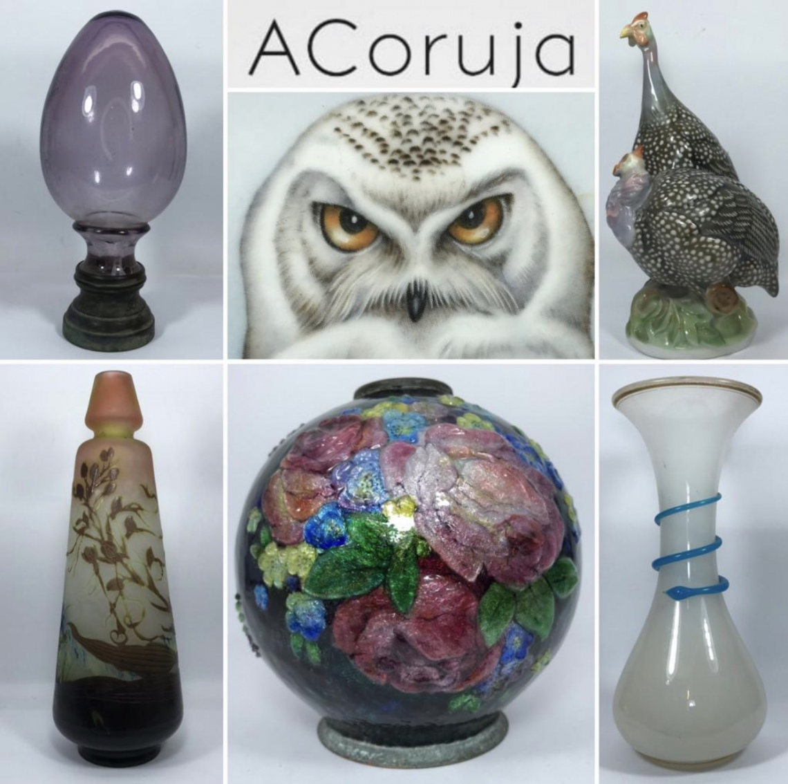 ACoruja -  LEILÃO DE ANTIGUIDADES - Opalinas, Art Déco / Nouveau, Pinhas, Baccarat, Meissen