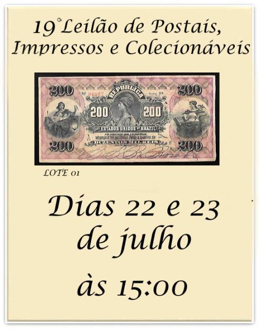19º LEILÃO DE POSTAIS, IMPRESSOS E COLECIONÁVEIS